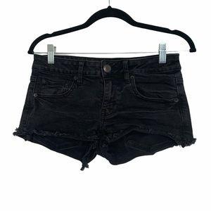 American eagle black low rise jean shorts 6